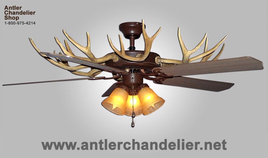 Faux Antler Whitetail Mule Deer Ceiling Fan 3 Lights Acs