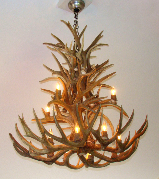 MULE DEER WHITETAIL REAL ANTLER CHANDELIER 12 CASCADING