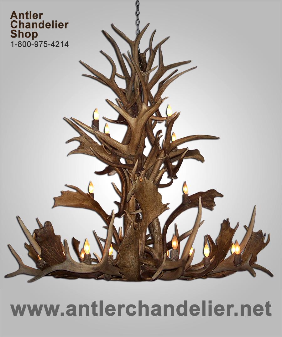 Real cascading fallow deerelk antler chandelier 20 lights acs does not apply arubaitofo Gallery