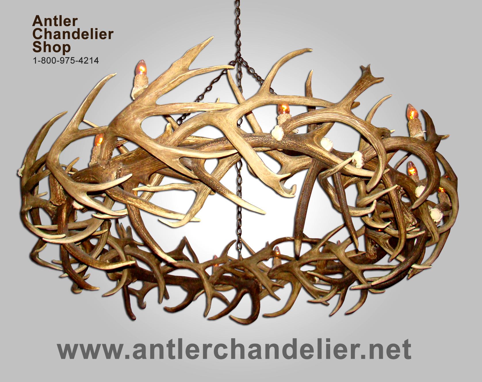 Real Antler Elk & Mule Deer Round Chandelier RMDRC